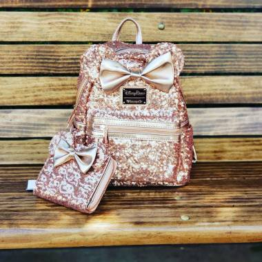 Sequin Rose Gold Minnie Backpack