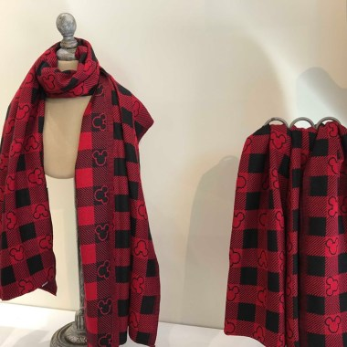 Red Plaid Mickey Scarf