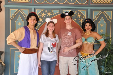 Jasmine hangs out with Aladdin in Adventureland.