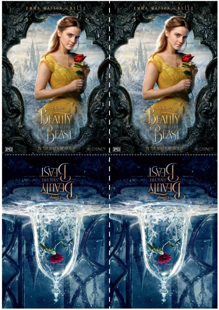 Gráficos de un juego de memoria con Belle y la rosa de La Bella y la Bestia