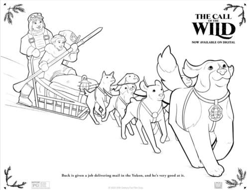 Hoja para iluminar con personajes de la película The Call of the Wild