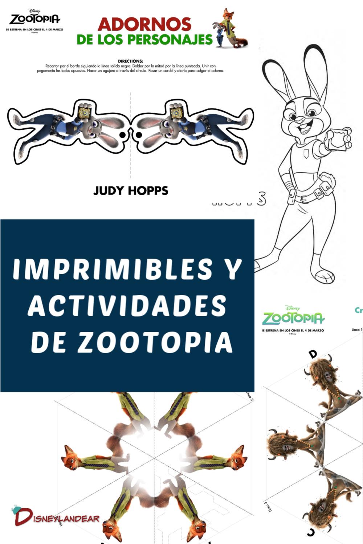 gráfico de imprimibles y actividades de zootopia