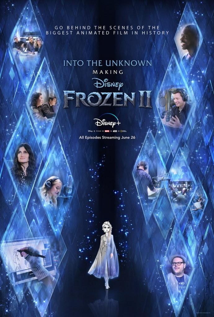 Poster promocional del documental de Frozen II Into the Unknown, de color azul con rombos
