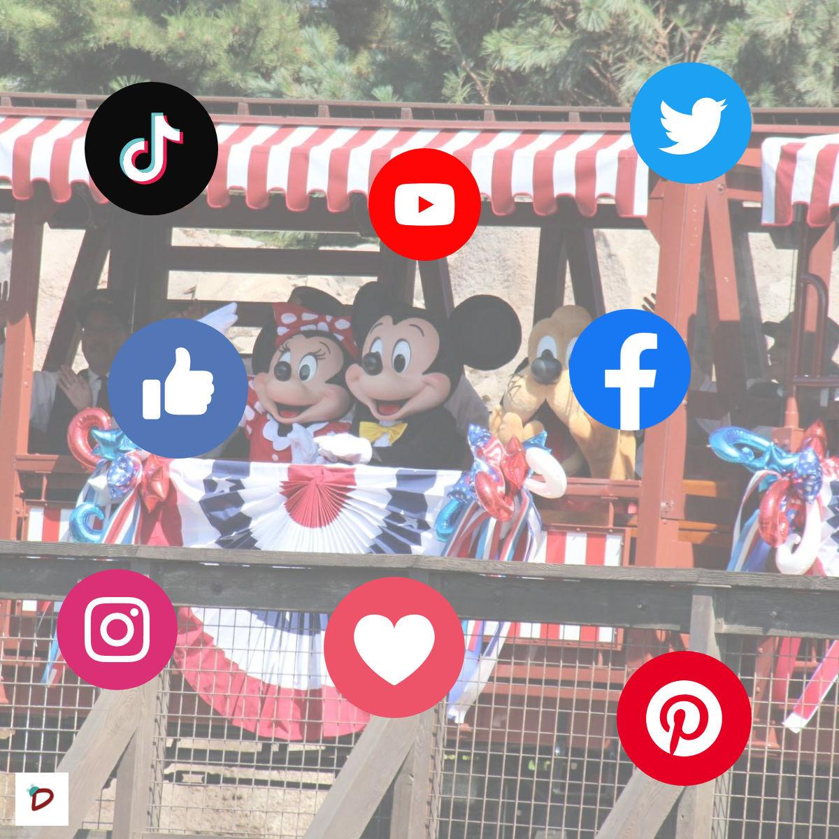 foto con Mickey, Minnie e iconos de redes sociales