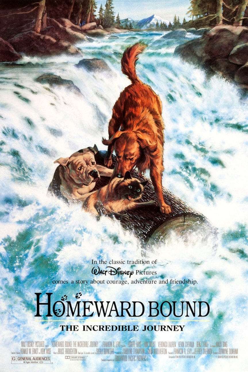 """Poster for the movie """"Homeward Bound: The Incredible Journey"""""""