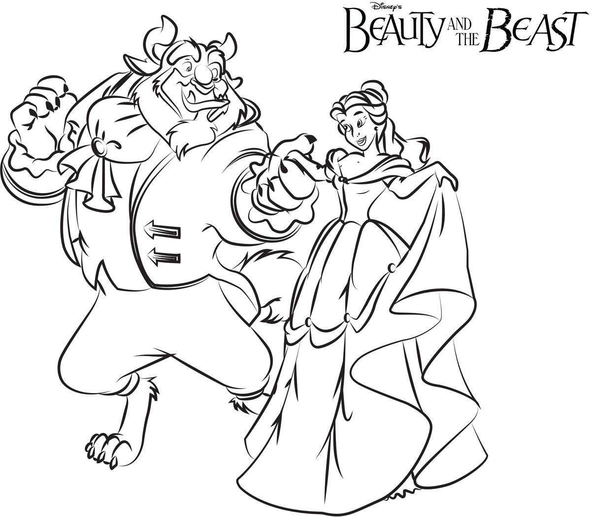 Ballroom dance beauty and the beast coloring pages