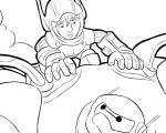 Hiro and Baymax in Flight - Big Hero 6 Coloring Pages