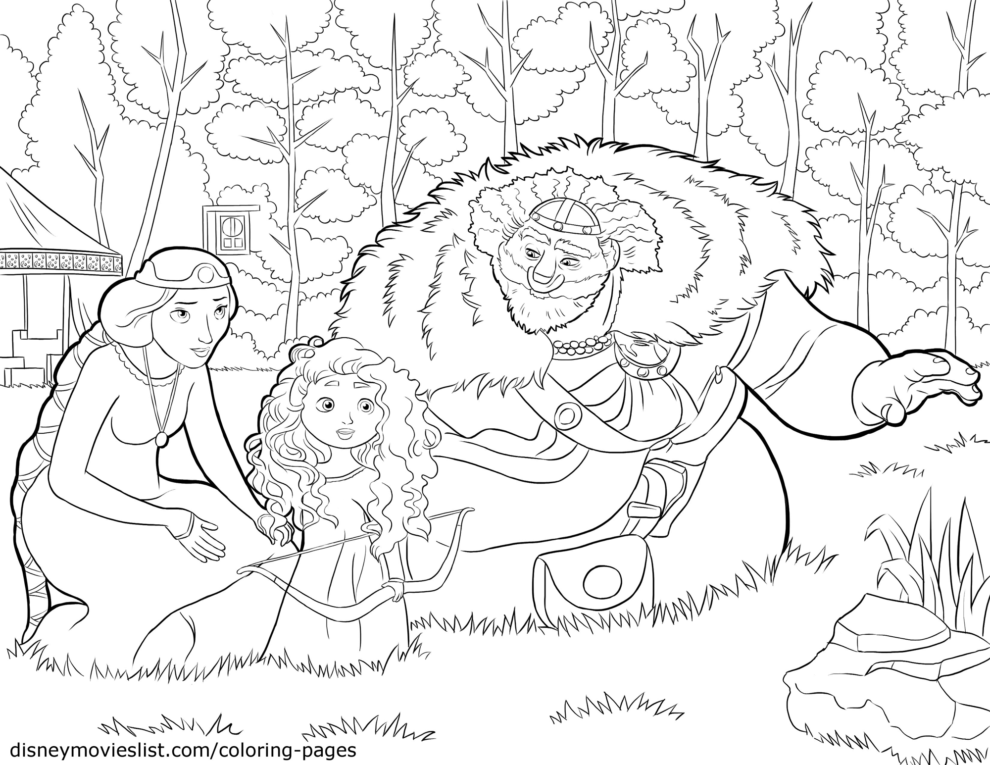Young Merida Brave Coloring Pages Disney Movies List