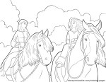 Merida and Elinor on Horseback – Brave Coloring Pages
