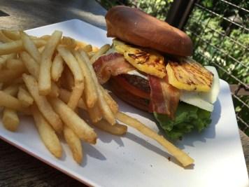 The yummy 1/3-pound Angus Hawaiian Cheeseburger with regular fries