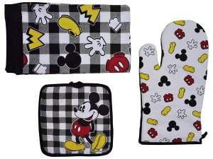 Disney Oven Mitt Pot Holder & Dish Towel 3 pc Kitchen Set