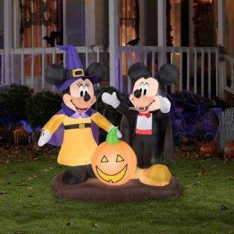 4.5' Tall Mickey and Minnie Pumpkin Halloween Inflatable