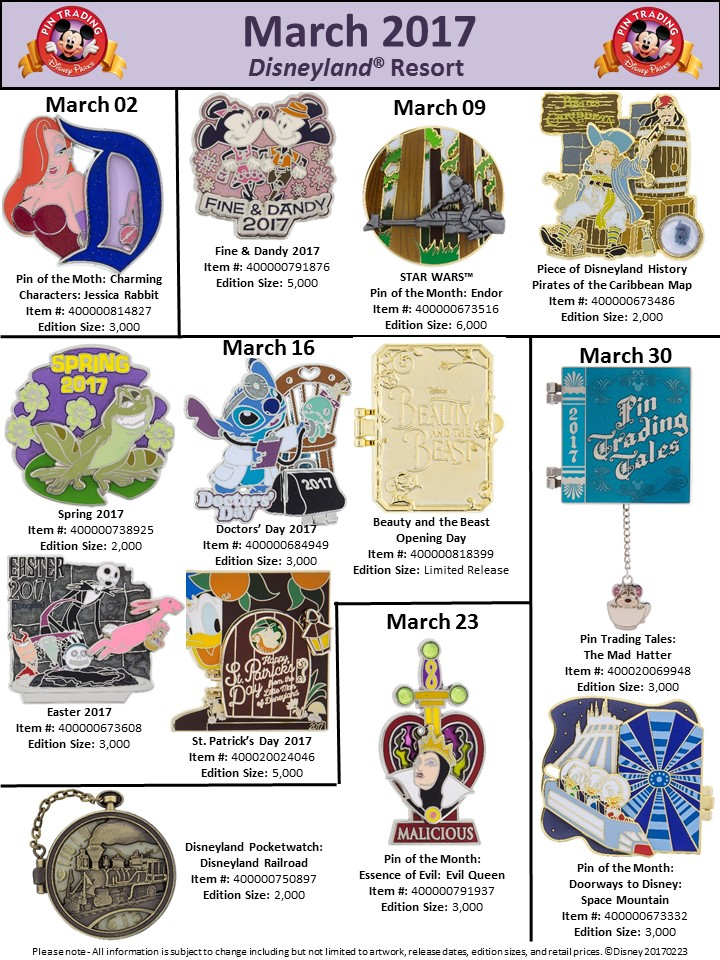 New Disney Park Pins Disneyland March 2017
