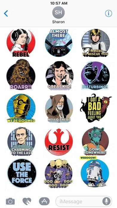 imessage star wars stickers