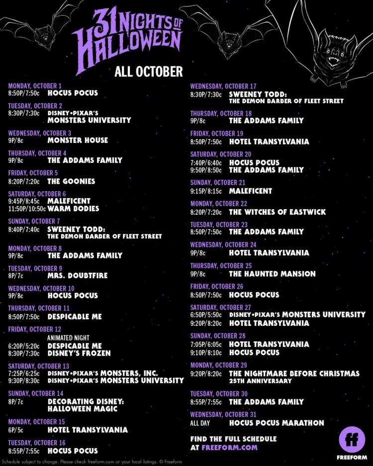 freeform 13 nights of halloween schedule