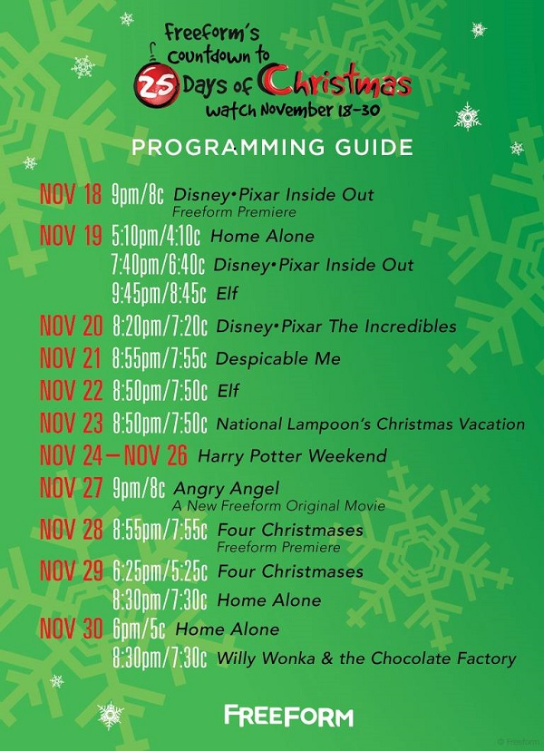 Freeform Countdown To 25 Days Of Christmas Movie Schedule