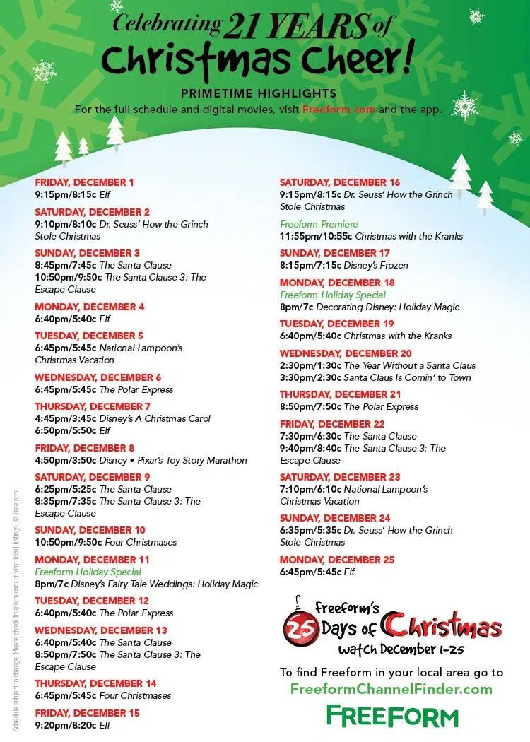 25 Days Of Christmas 2019.Christmas Specials Schedule 2019 Slubne Suknie Info