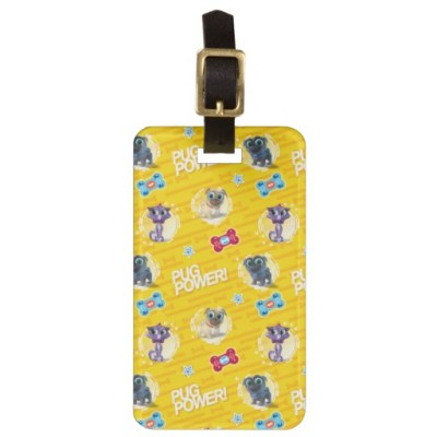 Puppy Dog Pals Luggage Tags (Pug Power Yellow Pattern)