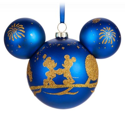 Mickey Mouse Ears Icon Glass Christmas Ornament Blue