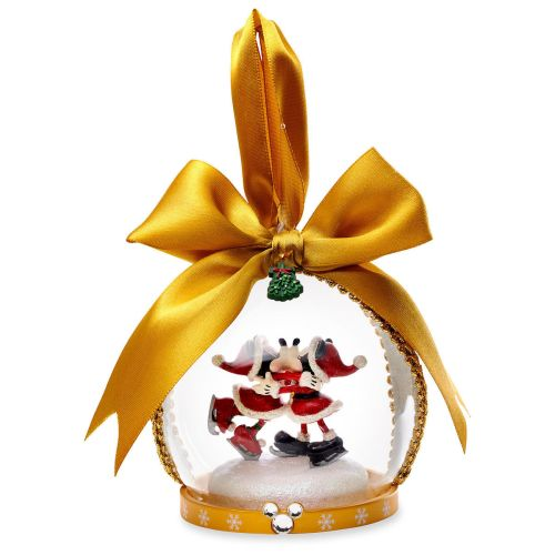 santa mickey and minnie mouse glass globe christmas ornament - Minnie Mouse Christmas Ornament