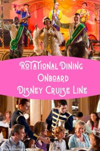 Rotational Dining on Disney Cruise Line is unique in the cruise industry! Guests get the chance to enjoy a different dining experience each night. Learn more on Disney Park Princess! #disneycruise #disneycruisedining #rotationaldining