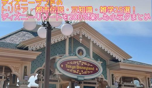 ディズニーランドのトリビア・都市伝説・豆知識・雑学25選!ディズニーリゾートを200%楽しむ小ネタまとめ