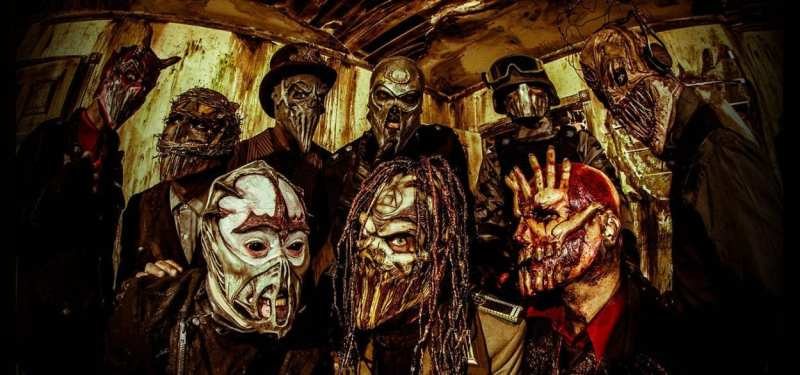 the band Mushroomhead all wearing horrific masks