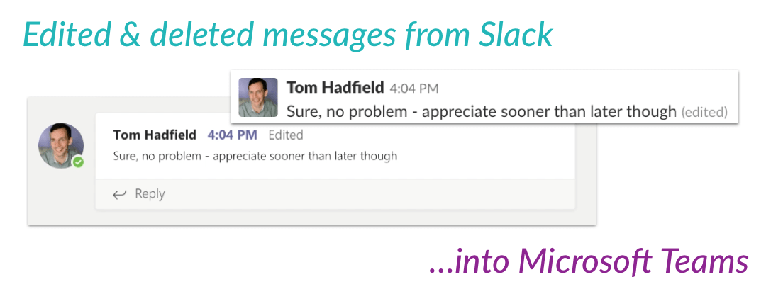 Edit / delete for chat between Slack & Microsoft Teams