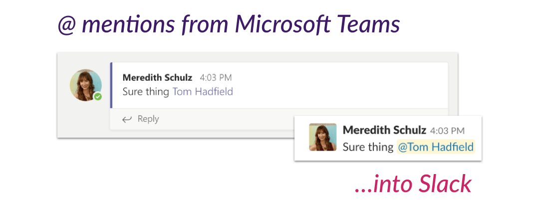 @ mentions from Microsoft Teams to Slack