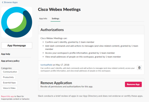 Cisco Webex Meetings in Slack