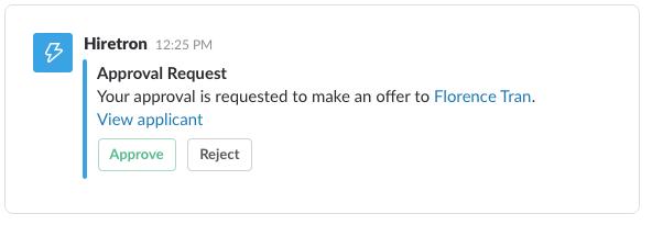Example of a Slack webhook