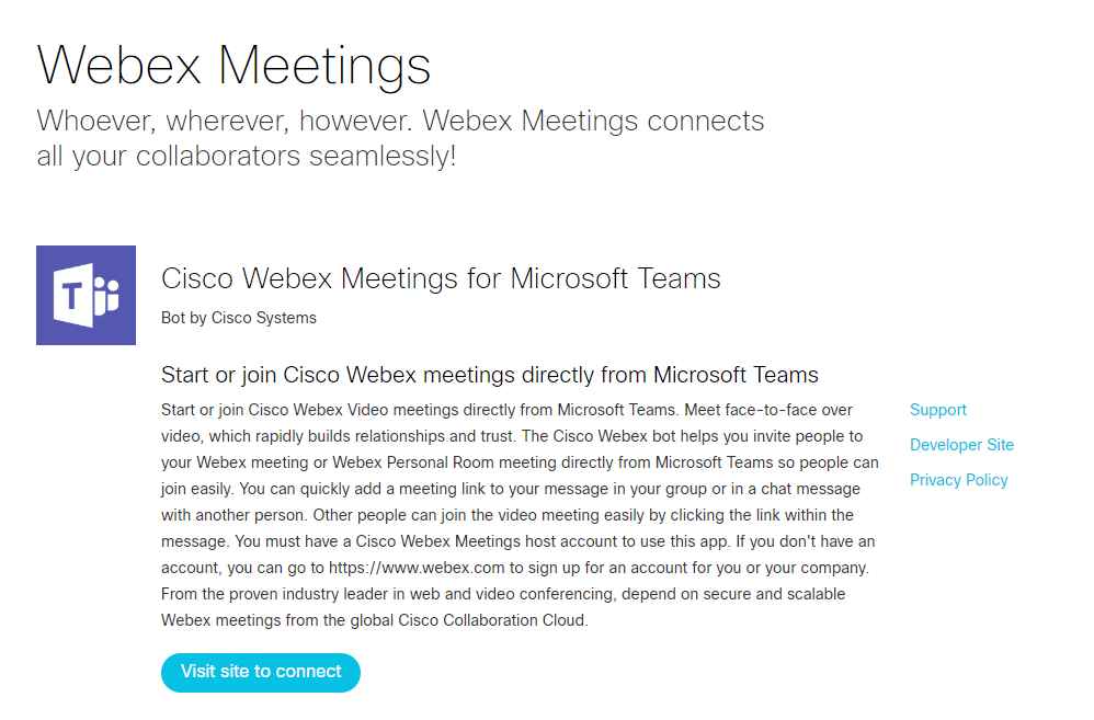 Webex Meetings for Microsoft Teams
