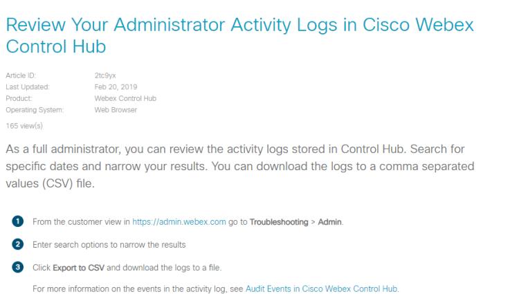 Cisco Webex Teams activity log