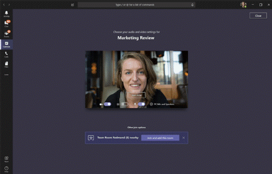 Use proximity sensing to join a meeting
