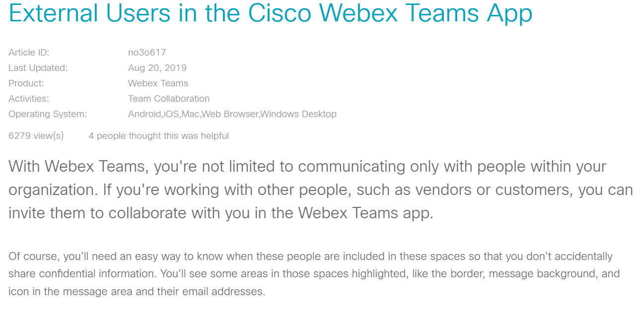 External users in the Cisco Webex Teams app