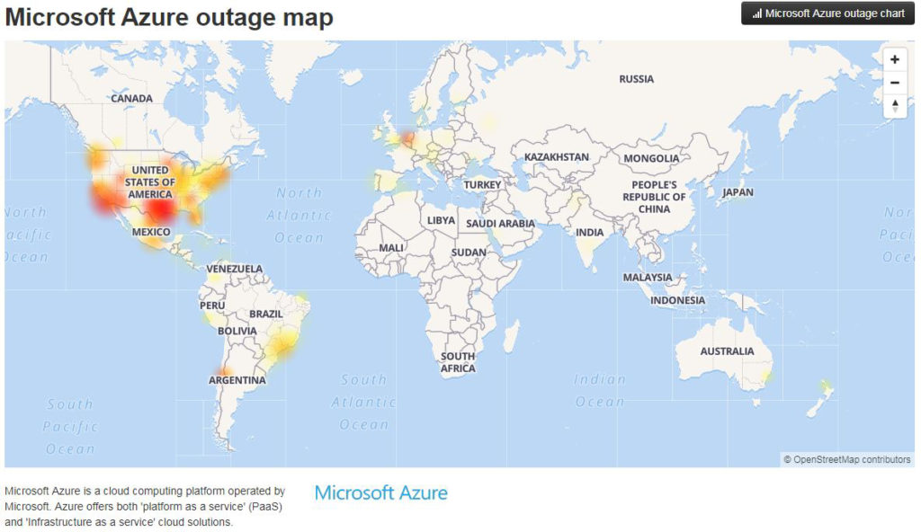 Map detailing where Azure suffered this week