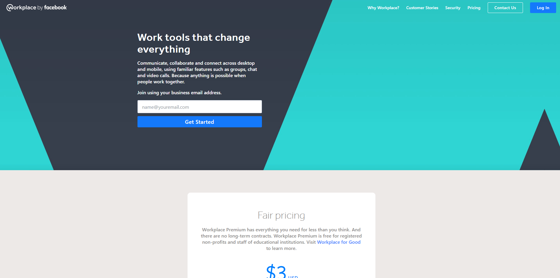 Workplace.com landing page