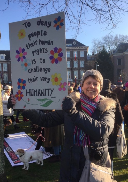 JACKIE HARDING AT THE WOMEN'S MARCH IN AMSTERDAM