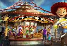 Artist rendering of Jessie's Critter Carousel at Pixar Pier