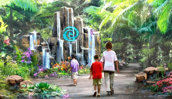 Concept art for Moana water attraction at Epcot