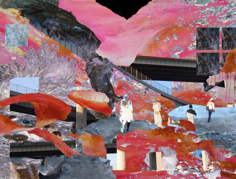 A desert landscape with hikers and collaged sections of highways  on top of dripping areas of paint. This digital collage is by Veronica Reeves.