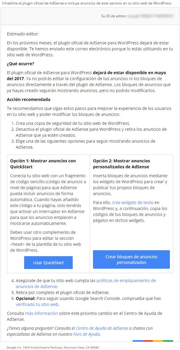 Mensaje recibido por los usuarios del plugin oficial de AdSense para WordPress