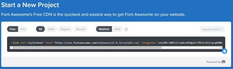 Configurar y copiar el enlace de FontAwesome para insertar los iconos bonitos en el menú de WordPress