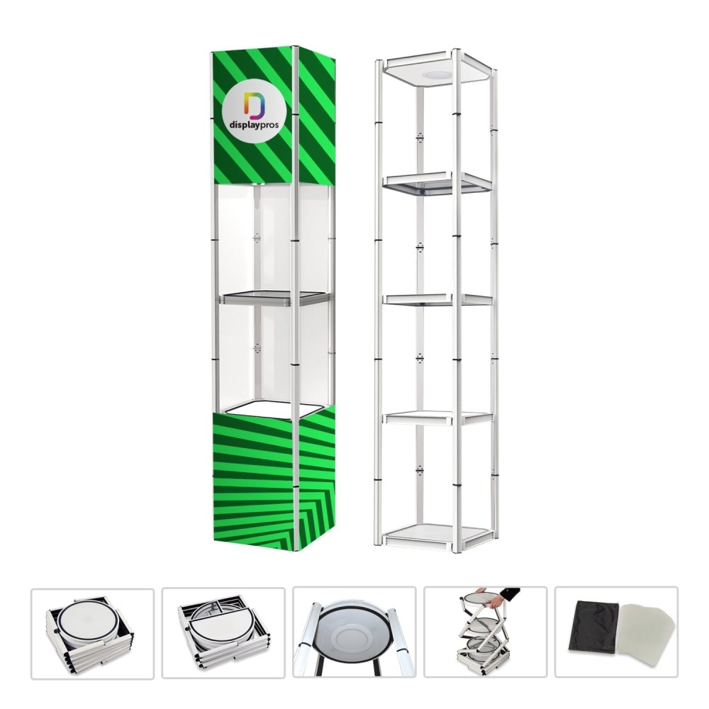 square twister tower collapsible portable product display for trade shows