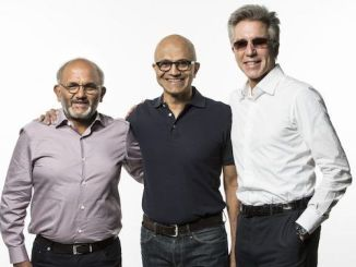From left: Adobe CEO Shantanu Narayen, Microsoft, CEO Satya Nadella and SAP CEO Bill McDermott introduced the Open Data Initiative at the Microsoft Ignite conference