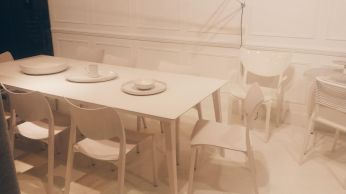 STUA Lau white stained ash table by Jesús Gasca