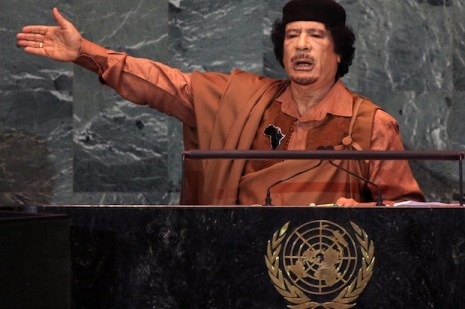 NEW YORK - SEPTEMBER 23: Libyan leader Col. Muammar Gaddafi delivers an address to the United Nations General Assembly at U.N. headquarters September 23, 2009 in New York City. This is the 64th session of the United Nations General Assembly featuring leaders from over 120 countries. Iranian President Mahmoud Ahmadinejad is scheduled to speak later in the day. (Photo by Mario Tama/Getty Images)