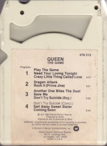 "Image of an 8-track tape, ""The Game"" by Queen back side"