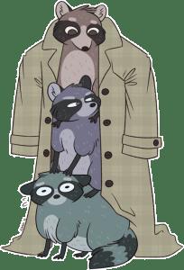 Three Raccoons in an Overcoat (cartoon)