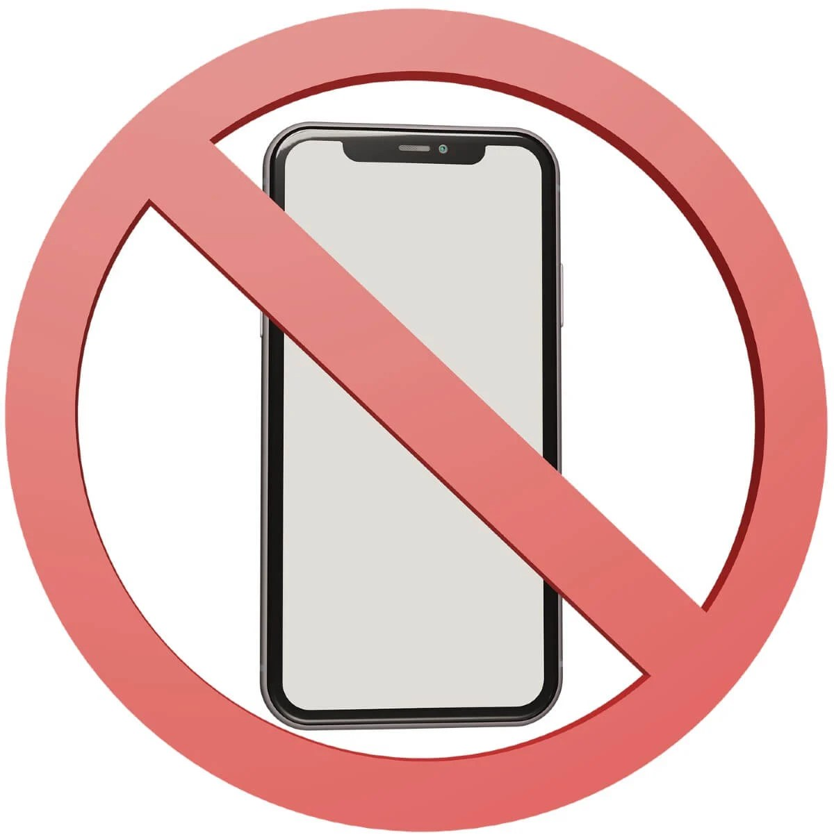 cell phone with a cross through it meaning no phones allowed